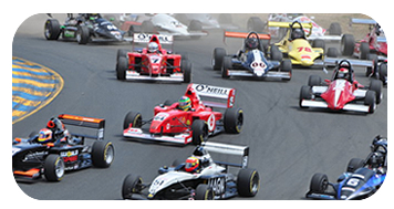 Dave House leads a pack of FCC racers through turn 2 at Infineon Raceway